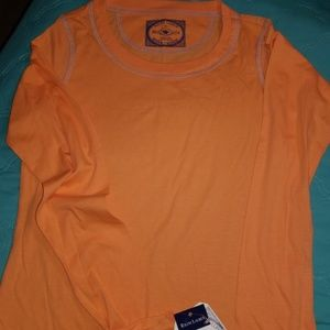 GIRLS RALPH LAUREN ORANGE LONG SLEEVE COTTON TOP